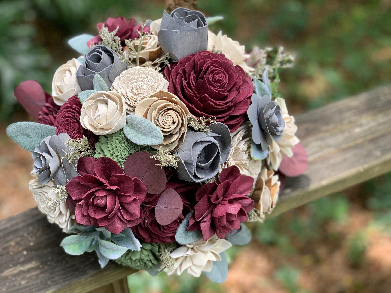 Wine, Steel Grey, Ivory with Lambs Ear Wooden flower