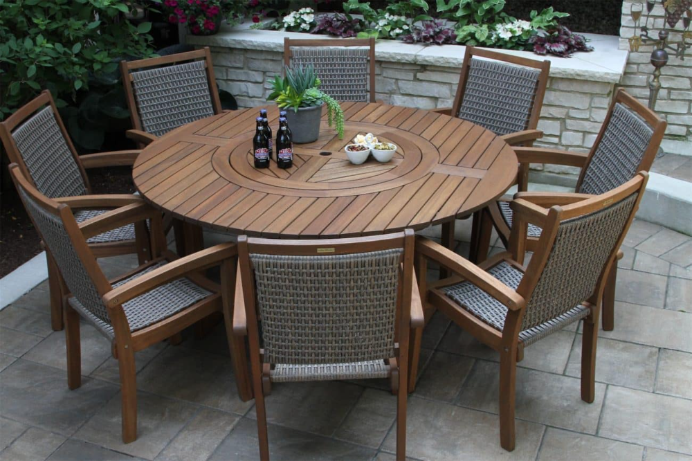 Large Round Eucalyptus Wood 63 Lazy Susan Dining Table Outdoor Dining Table Wood Patio Table Round Outdoor Table