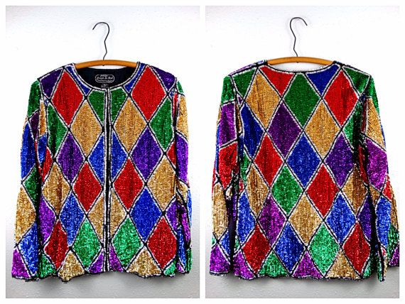 c19451289d7dc7 Harlequin Sequin Evening Jacket    Bold Colorful Sequined Blazer ...