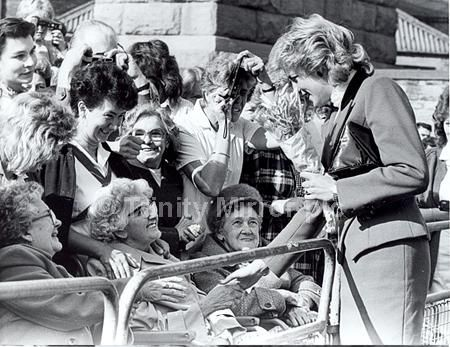 29 Sep 1987 Princess Diana the Princess of Wales. North East visits . Princess Diana visiting the Age Concern Day Centre in Durham. She is seen here meeting pensioners from St Margaret s Hospital. 29 09 87