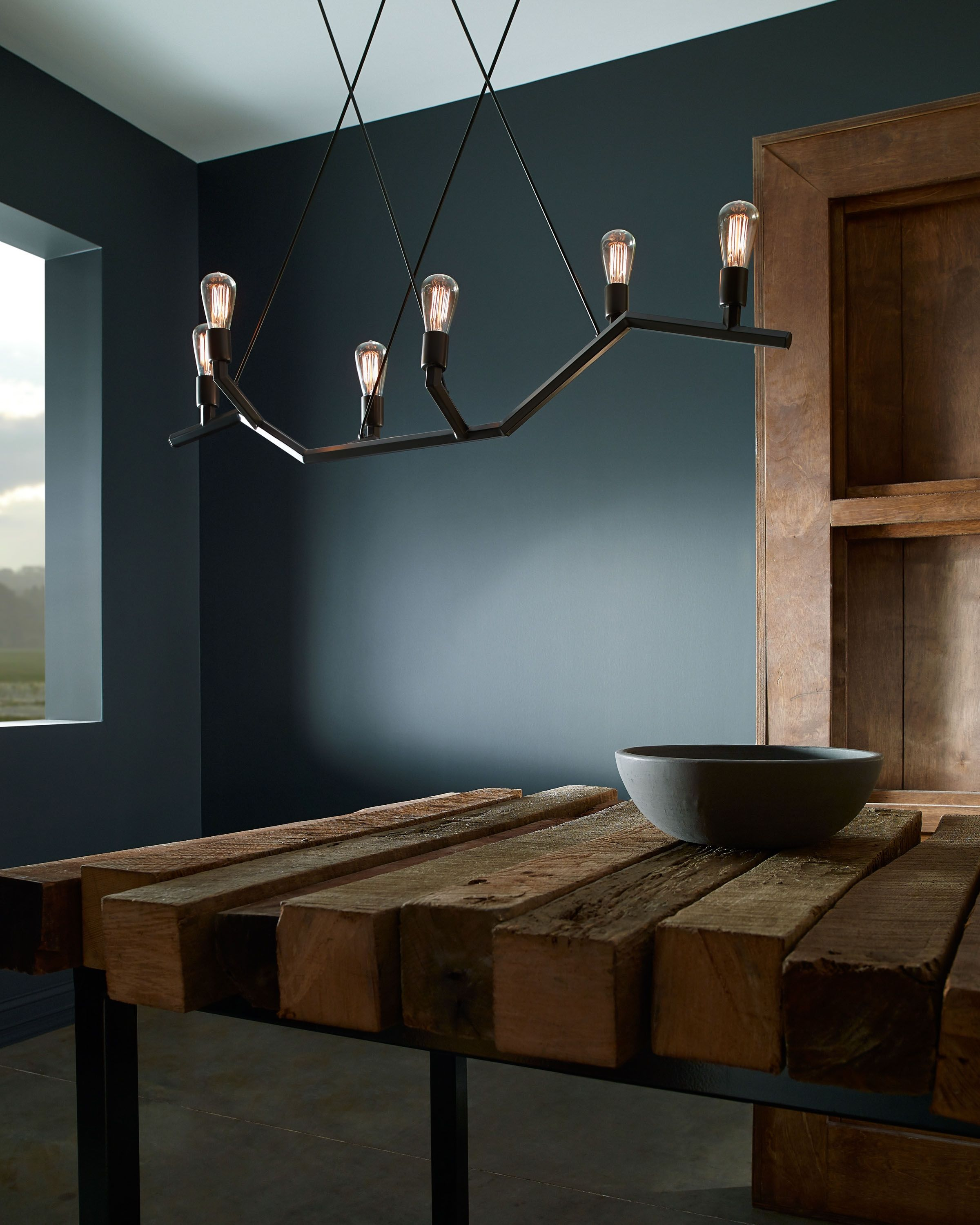 Akimbo Linear Suspension Lighting By Tech Jagged Lines Asymmetrical Shape And Exposed Edison