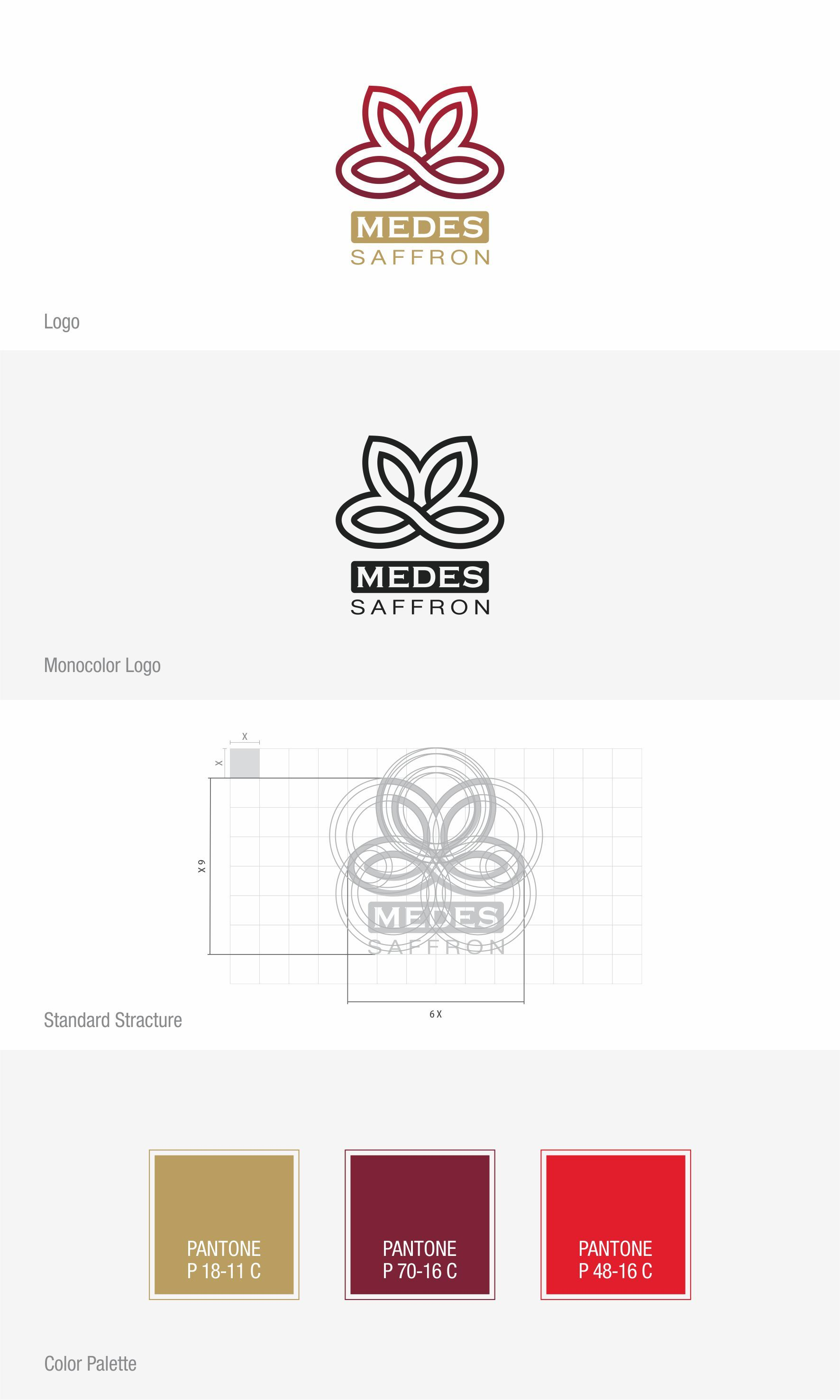 Medes Saffron Brand Identity Art Director Ali Bagheri Logo Design