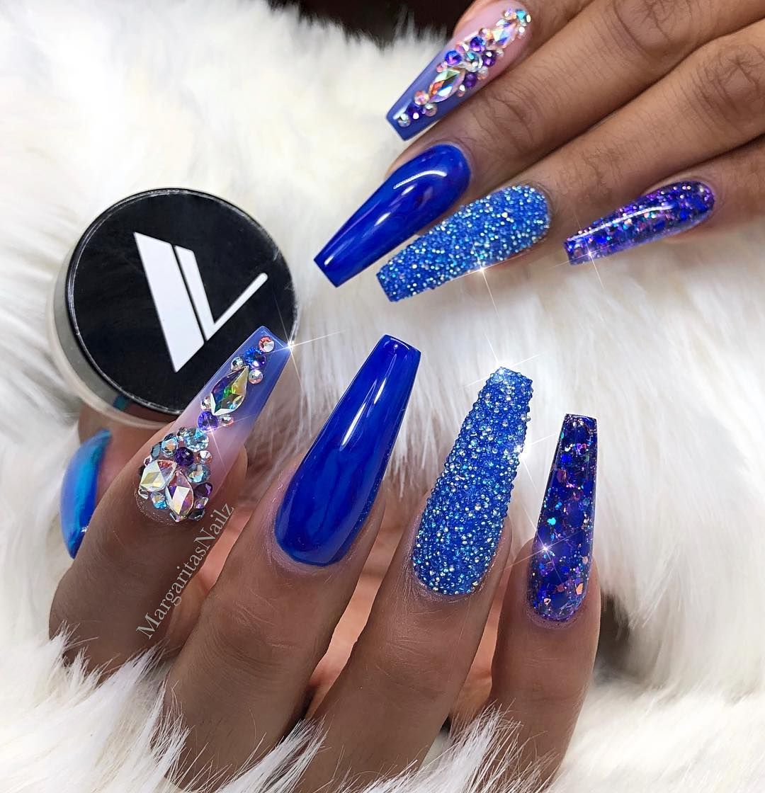 Follow Me On Pinterest For More Slayin Pins Beautyndesign Blue Coffin Nails Blue Acrylic Nails Royal Blue Nails