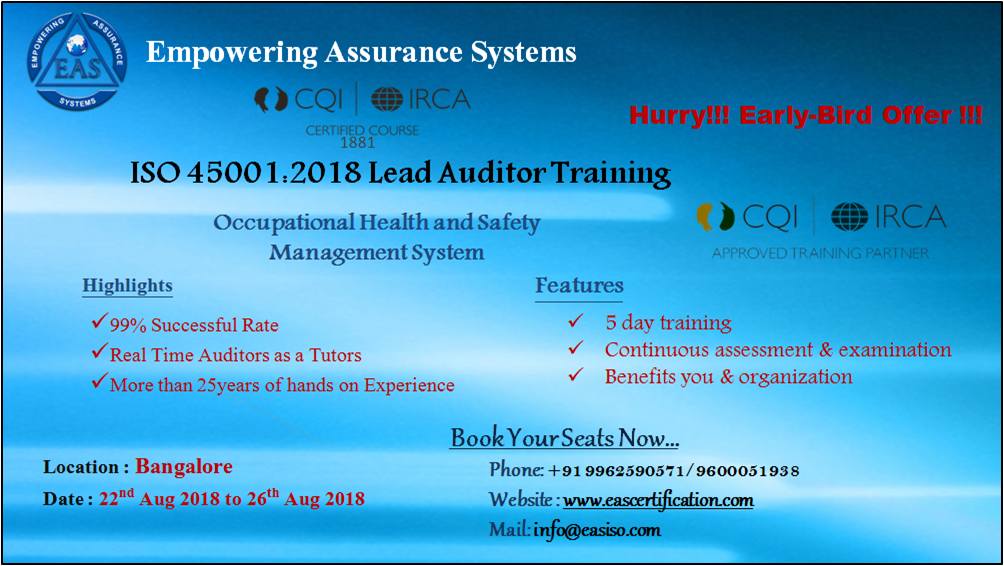 We offer certified ISO lead auditor training courses for