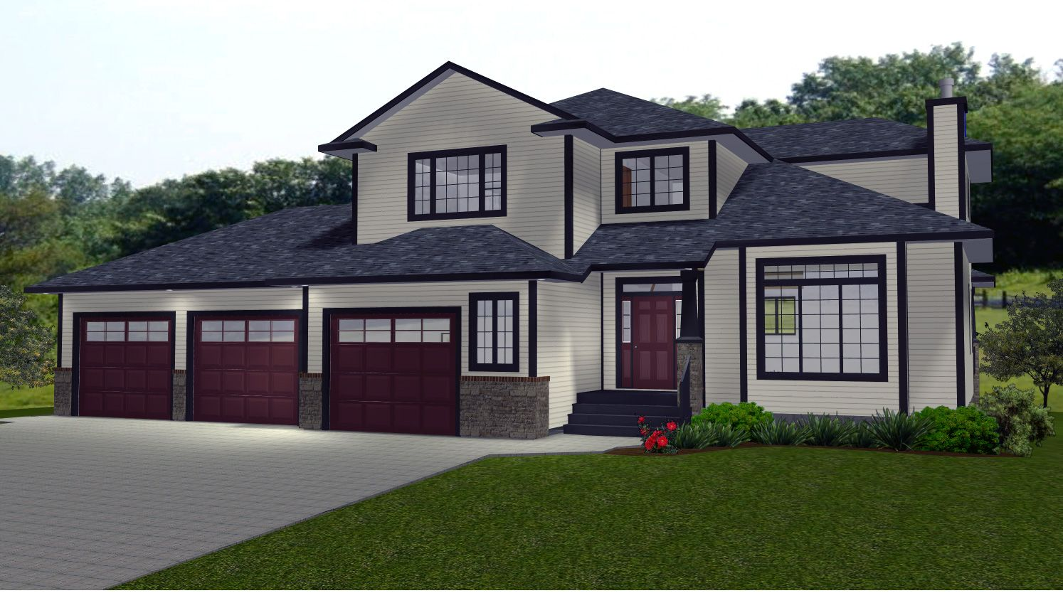2 Storey House Plans With Bonus Room Over Garage Plans by Edesigns – 3 Car Garage Plans With Bonus Room