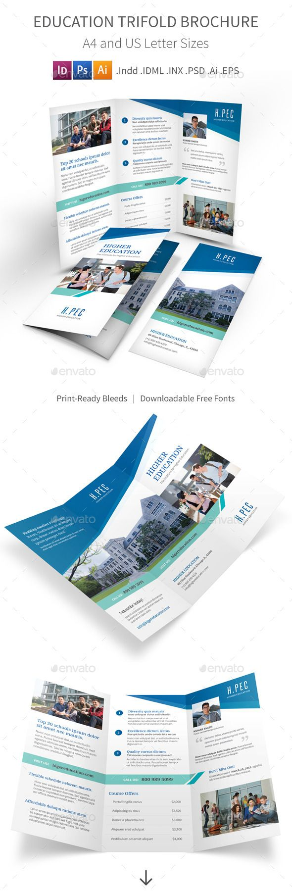 Education Trifold Brochure Brochures Psd Templates And Brochure - Psd tri fold brochure template