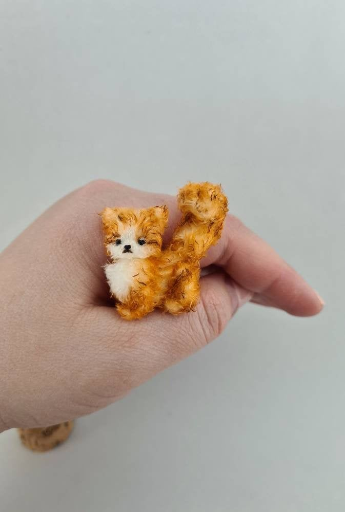 Fluffy ginger kitten, Stuffed animal cat, Miniature animals for dollhouse