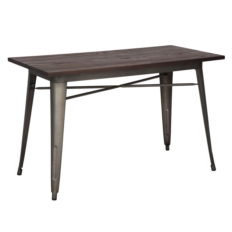 Tavolo \/ scrivania in ferro e legno di olmo stile ...