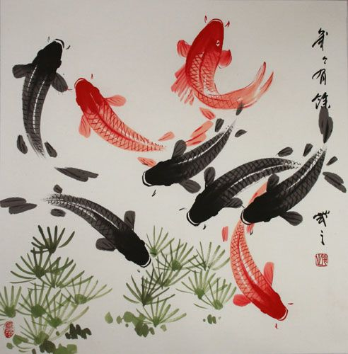 Japanese watercolor large koi fish painting chinese character japanese kanji asian for Chinese coy fish