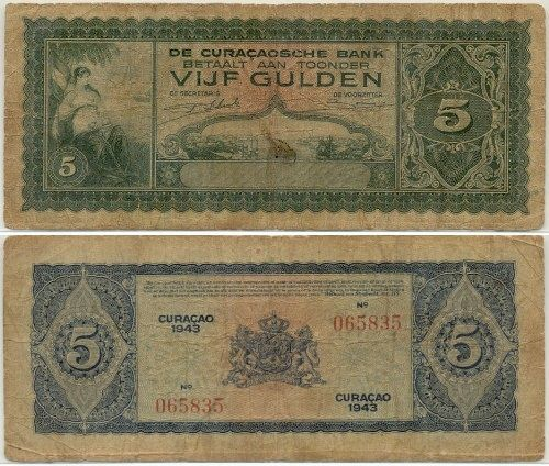 Curacao 5 Gulden 1943 Woman View Of