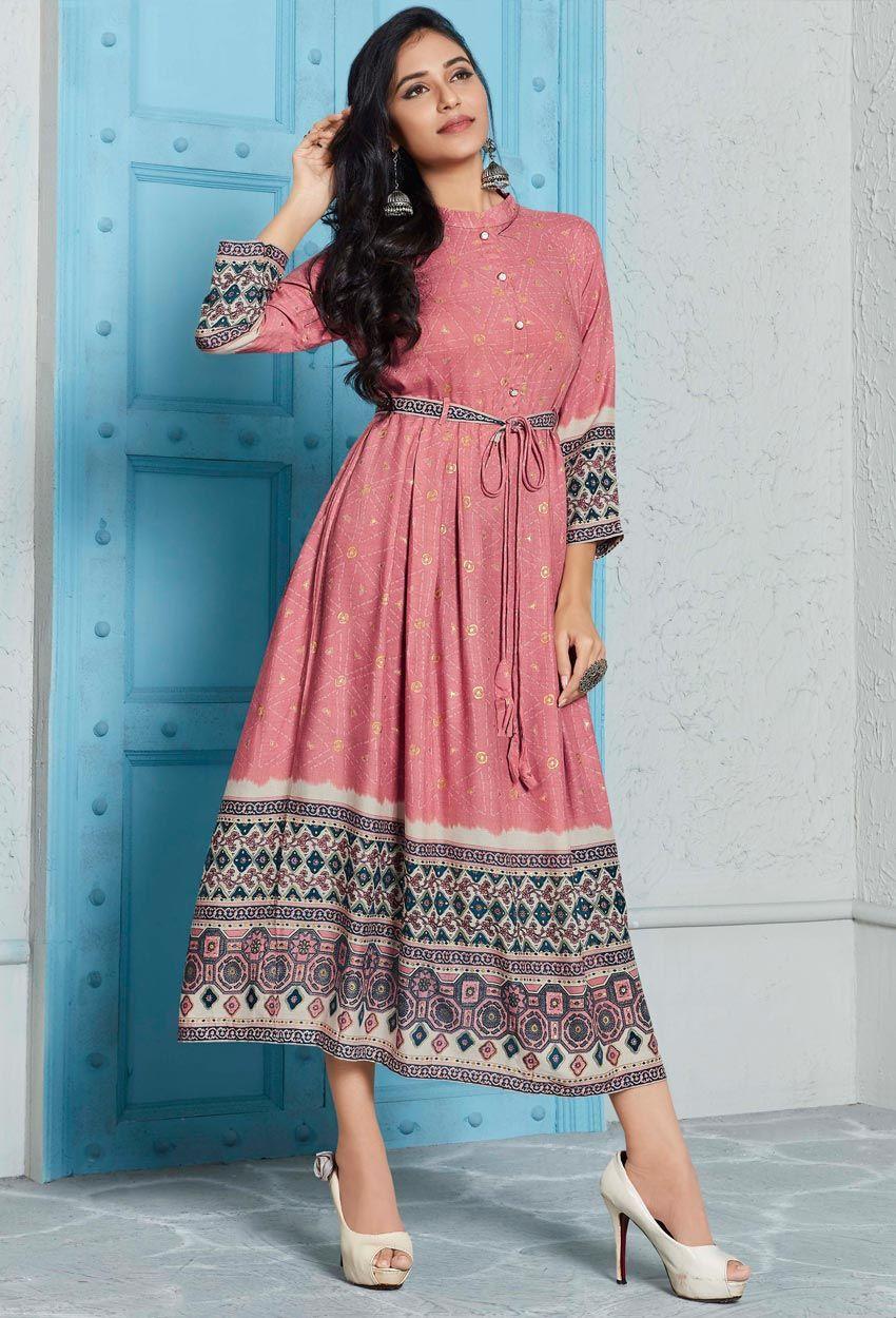 Rayon Designer Printed Kurti In Dusty Pink #indiandesignerwear
