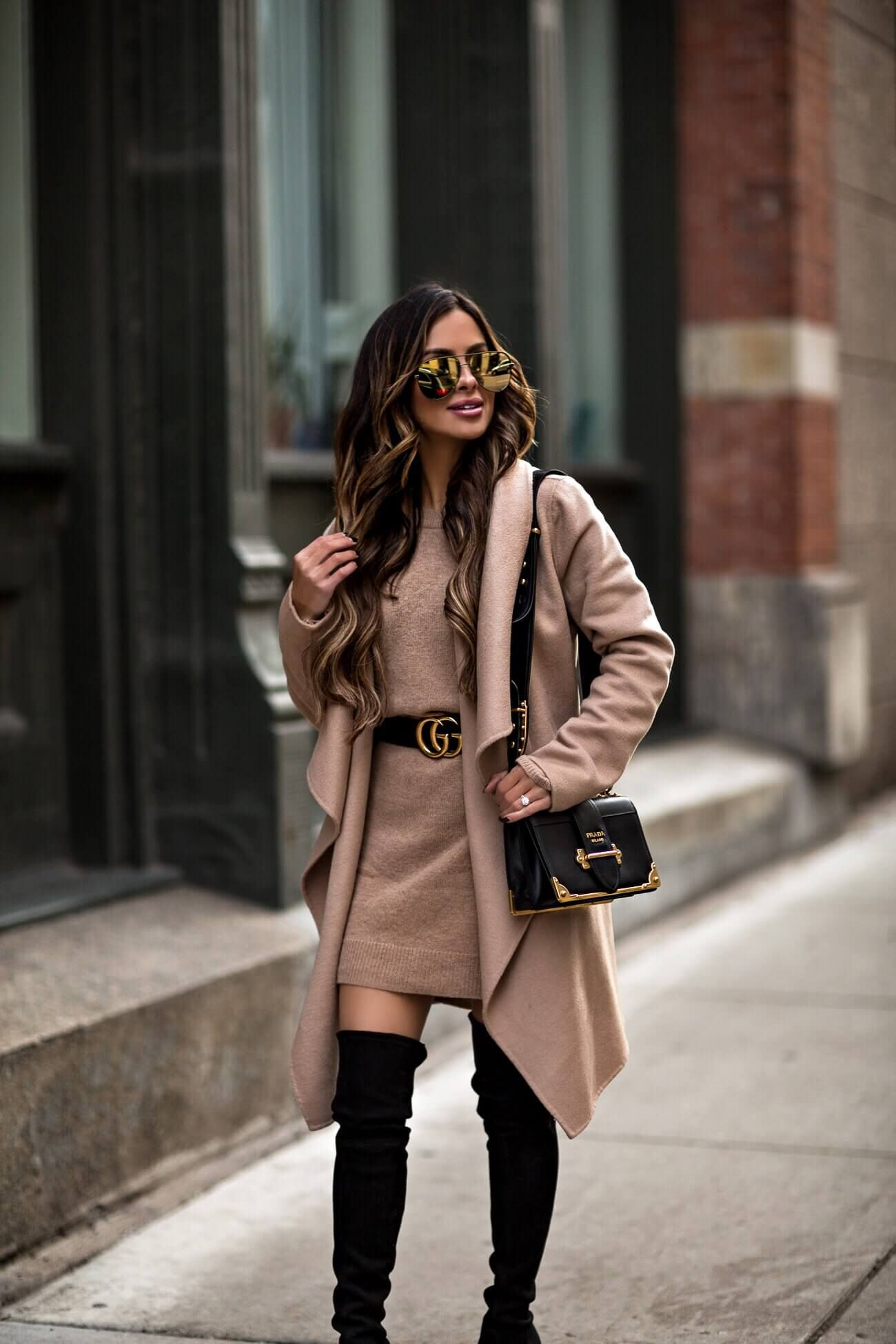 mia mia mine wearing a gucci belt and a camel coat from nordstrom ... 2e93d4657