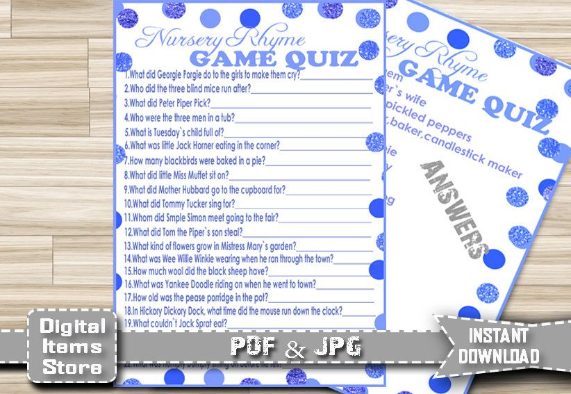 Baby Shower Nursery Rhyme Quiz - Baby Shower Nursery Rhyme Game - Nursery Rhyme Quiz Blue - Nursery Rhyme Game Blue Dots - Instant Download by DigitalitemsShop on Etsy
