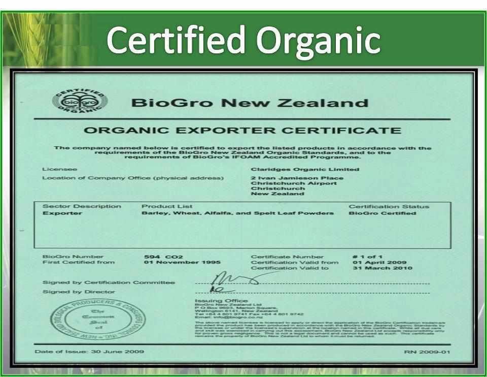 Sante Pure Barley Is Certified Organic By Biogro An