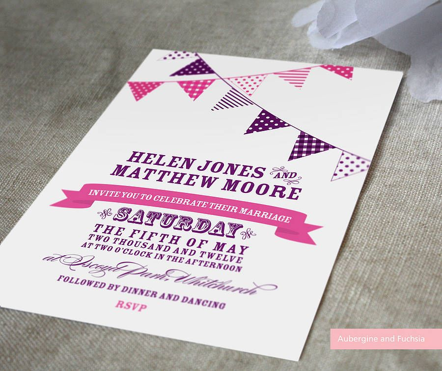 Bunting Wedding Invitation | Bunting invitation, Buntings and ...