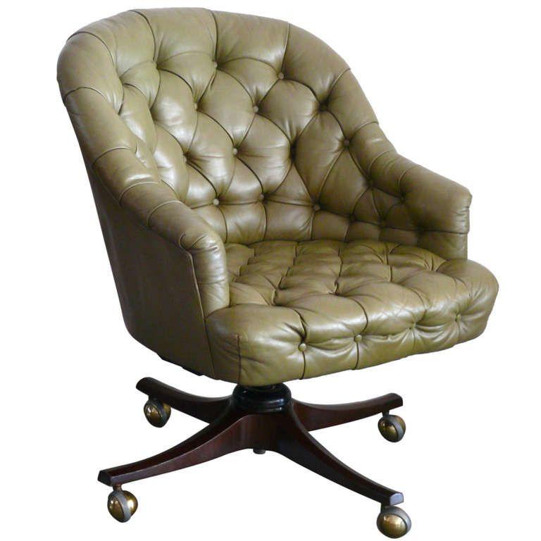 Edward Wormley For Dunbar Leather Desk Chair 1stdibs Com