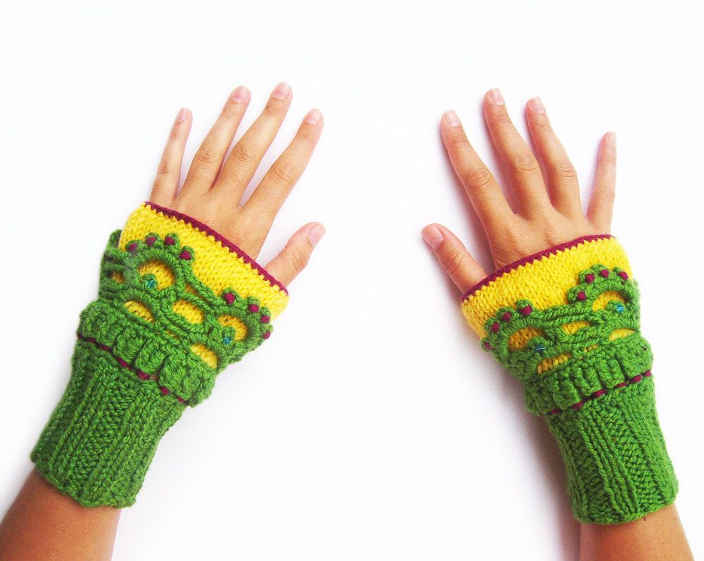Knit Fingerless Gloves Women, Fingerless Knit Gloves, Crochet ...
