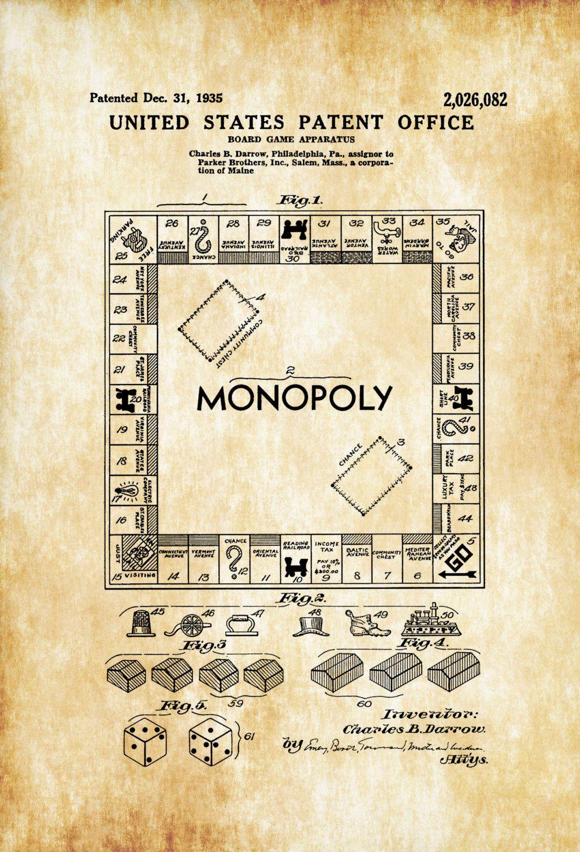 Monopoly Game Patent Patent Print, Wall Decor, Monopoly