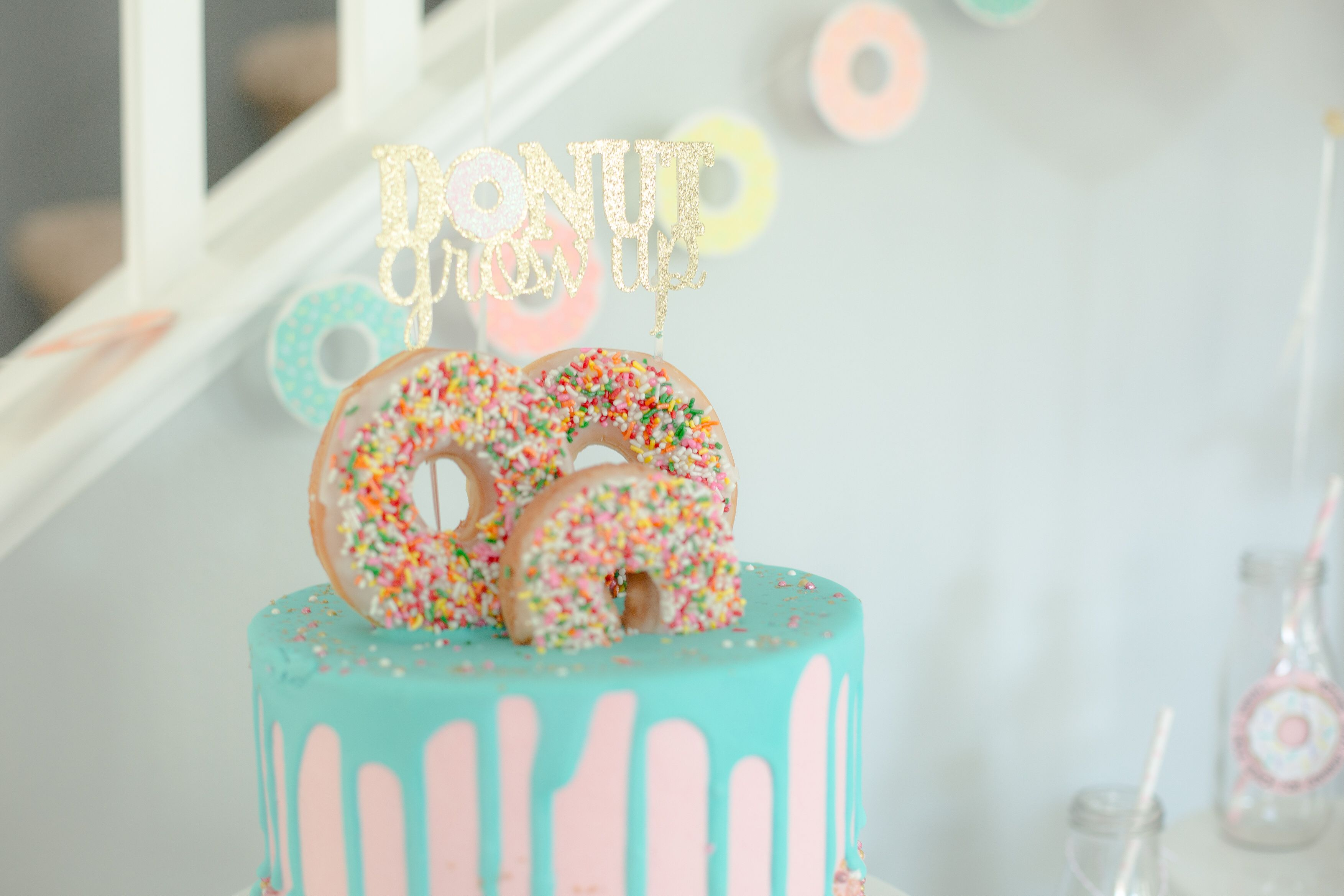 Do Nut Grow Up Birthday Theme Donut Cake Diy 10th Year Old