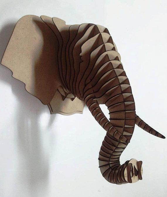 Elephant head 3d puzzle animal head mdf elephant head wood for Muebles elefante