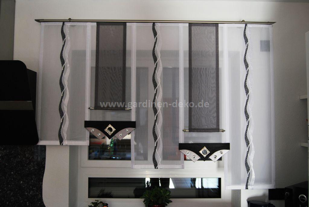 Küchengardine in schwarz-weiß mit edlen Elementen - http://www ...