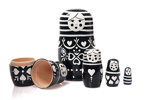 This set of 5 Russian nesting dolls is a modern take on the traditional Russian babushka or matryoshka dolls. Ships from Sydney!