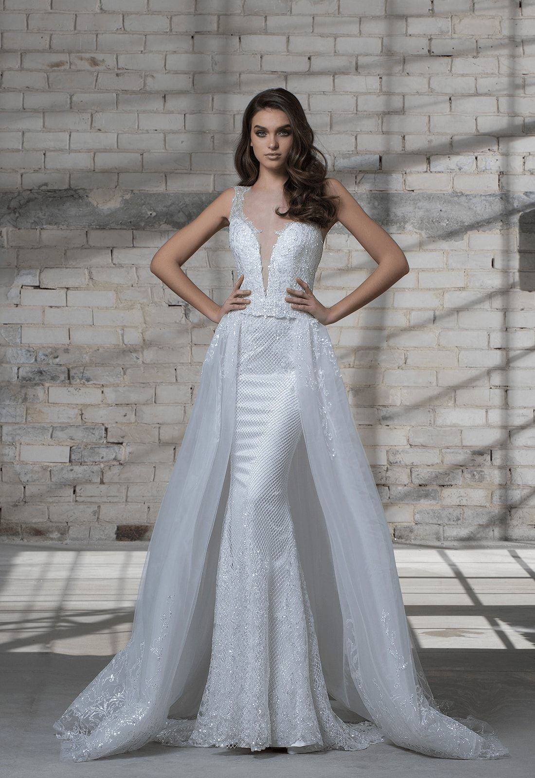 Sleeveless Beaded Sheath Wedding Dress With Deep V