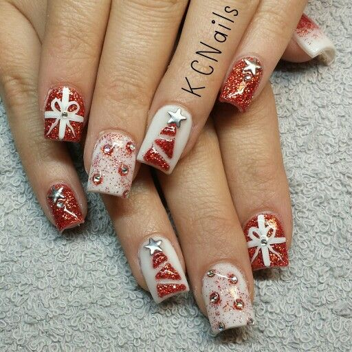 2014 Christmas Nails. Red and white holiday acrylic nails. 3D acrylic christmas tree, gift nail art and rhinestones.  KCNails