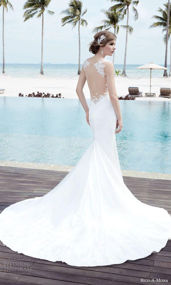 cfbcdb143f6 rico a mona bridal resort 2015 sleeveless sheath sexy wedding dress with  illusion strap zoom illusion back view