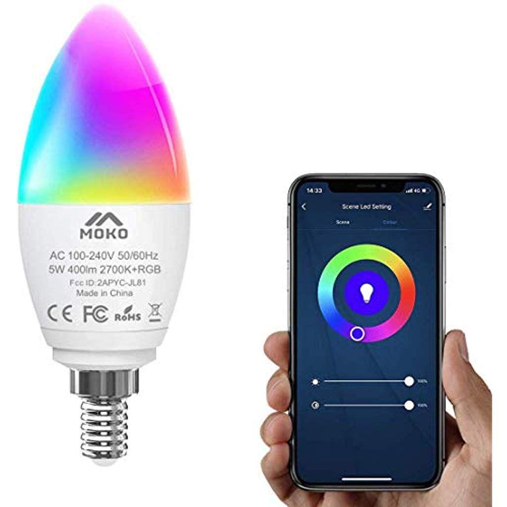 Moko Smart Wlan Led Lampe E14 5w Kerzenform Dimmbar Gluhbirne Mehrfarbig Rgbweiss Licht Wifi Birne Mit App Und Sprachsteuerung Kompatib In 2020 Led Lampe Gluhbirne Led