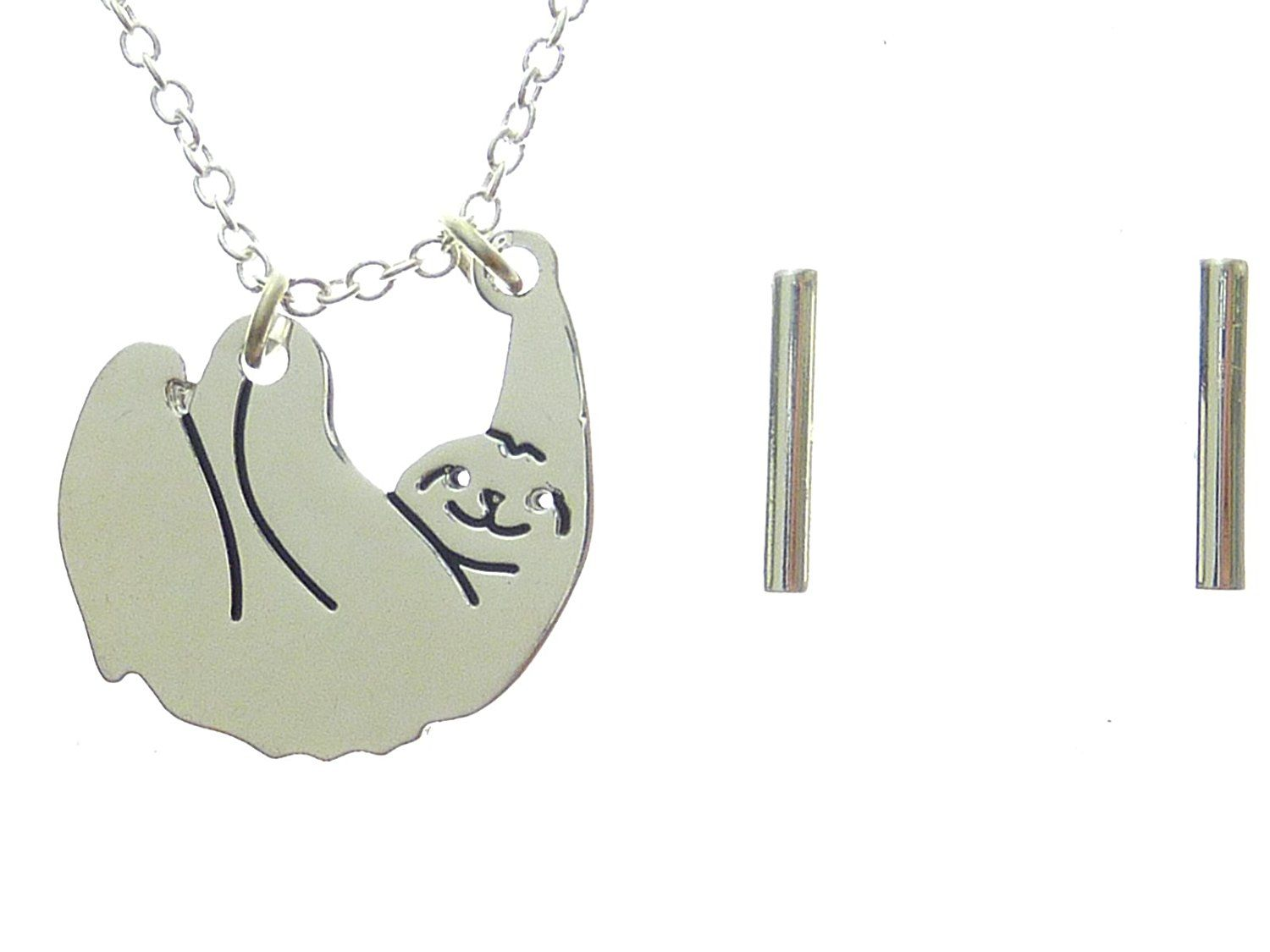 Toki happy sloth pendant necklace and bar earrings set u with