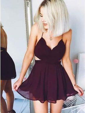Simple V Neck A-Line Chiffon Burgundy Short Homecoming Dress from Dressmeet