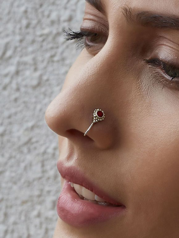 Red Silver Toned Nose Ring #nosering