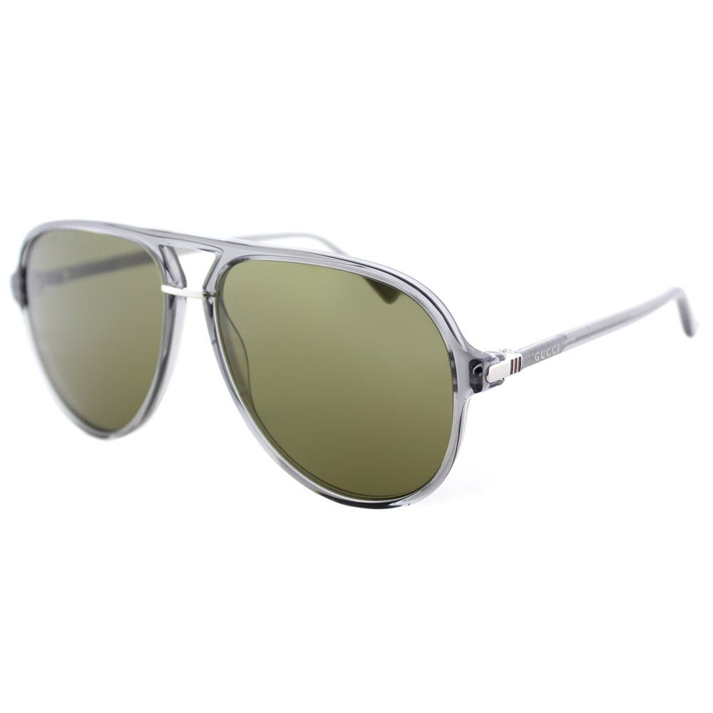 78c811b339 Gucci Unisex GG 0015S 005 Transparent Green Lenses Aviator Sunglasses