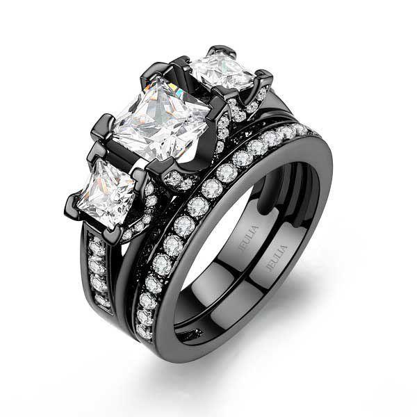 jeulia three stone princess cut created white sapphire wedding set women wedding ringswedding - Womens Black Wedding Ring Sets