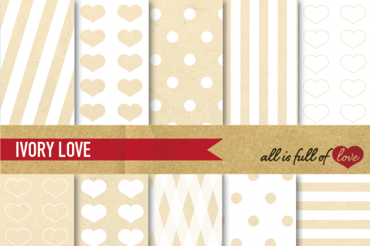 Ivory White Patterns Kit with Vintage Paper Background  :: Printable Patterns with hearts, dots & stripes. You get 10 High Quality Sheets :: JPG files in Letter and A4 size with 300 dpi jpg, for perfect printing or digital use. These are great for scrapbooking, crafts, party decor, DIY projects, blogs, stationery & more. All patterns are original and copyrighted by All is Full of Love