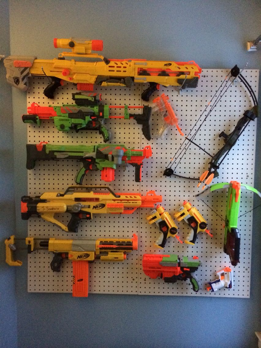 Peg Board Wall To Organize Kids Nerf Gun Arsenal House