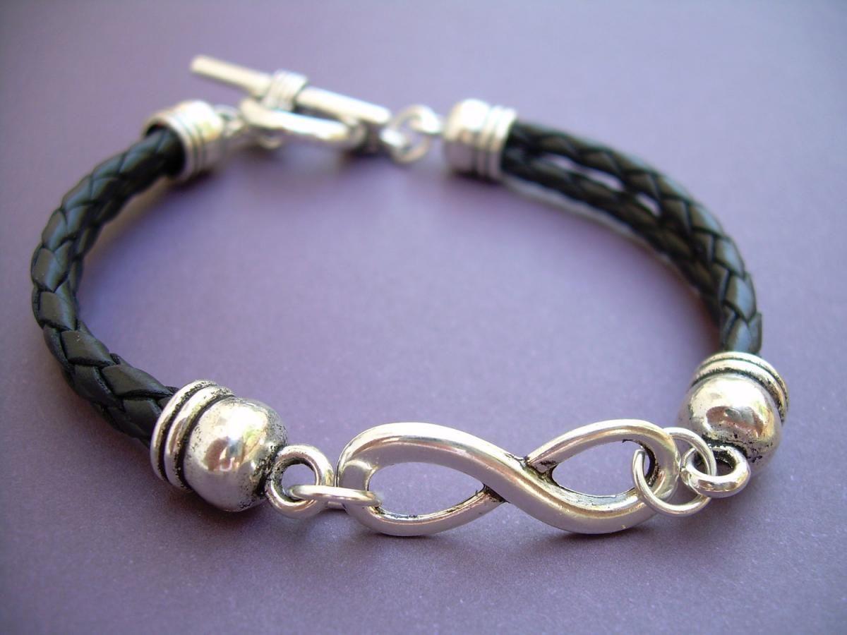 Leather Bracelet Infinity Black Braided Mens Womens