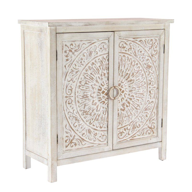 Olney Springs Traditional Carved Design Wooden 2 Door Accent Cabinet Accent Doors Handmade Cabinets Wooden Storage Cabinet