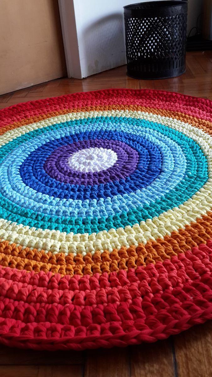 Alfombra Artesanal De Totora Deco Hogar Tejida A Crochet