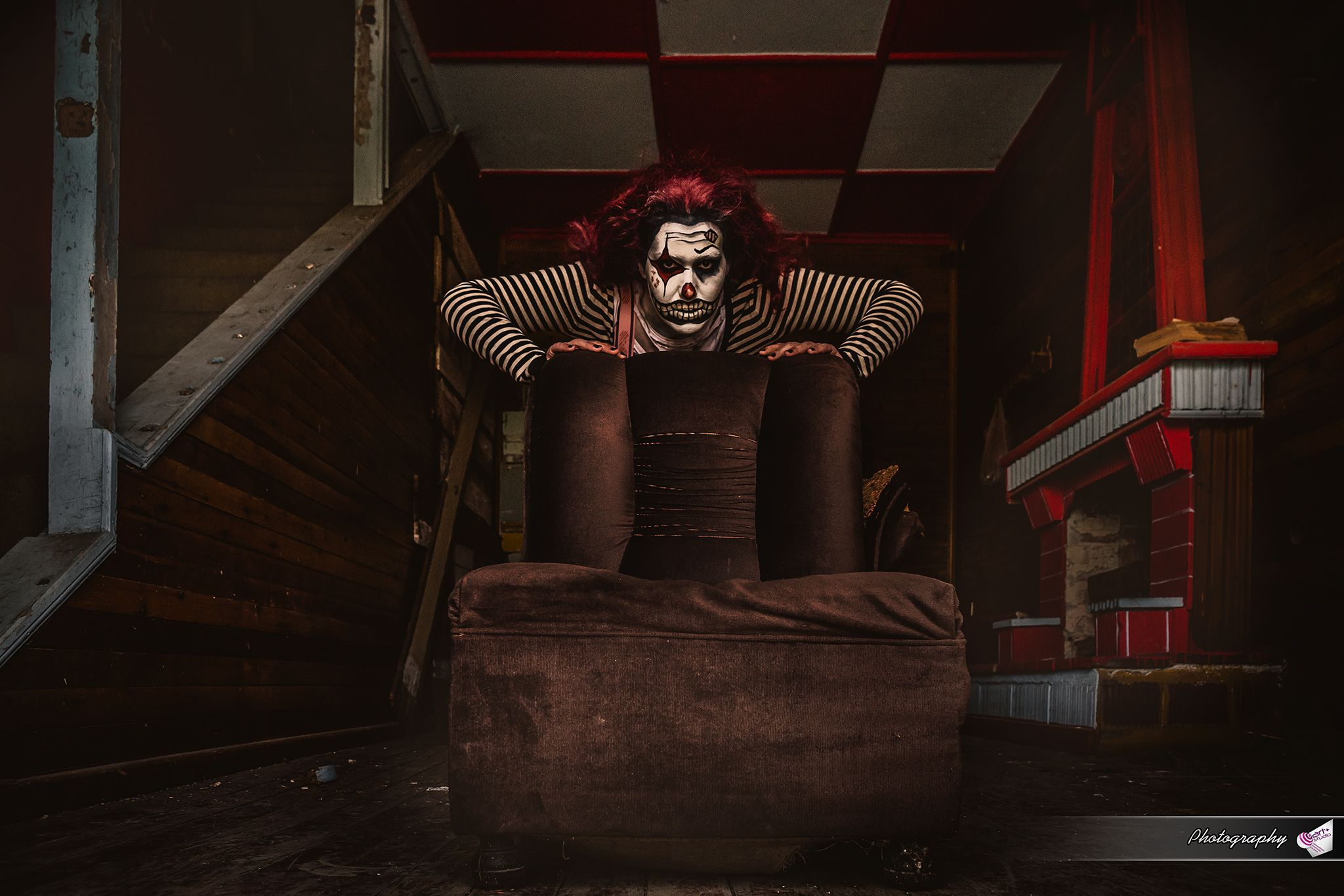 clown creepy halloween photography red white chess couch