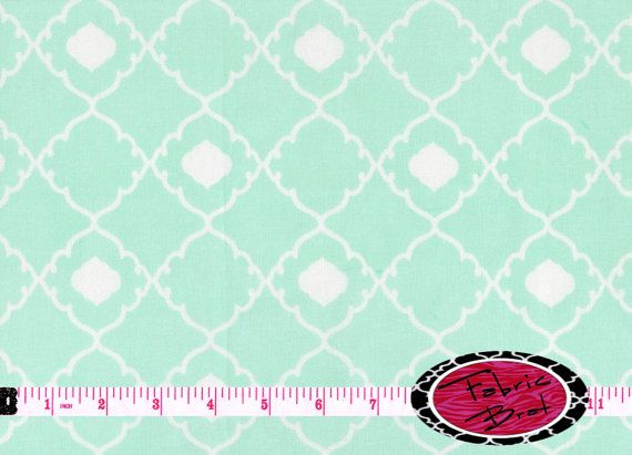 MINT MOROCCAN Fabric By The Yard Half Fat Quarter Modern Pale Green Quatrefoil Apparel