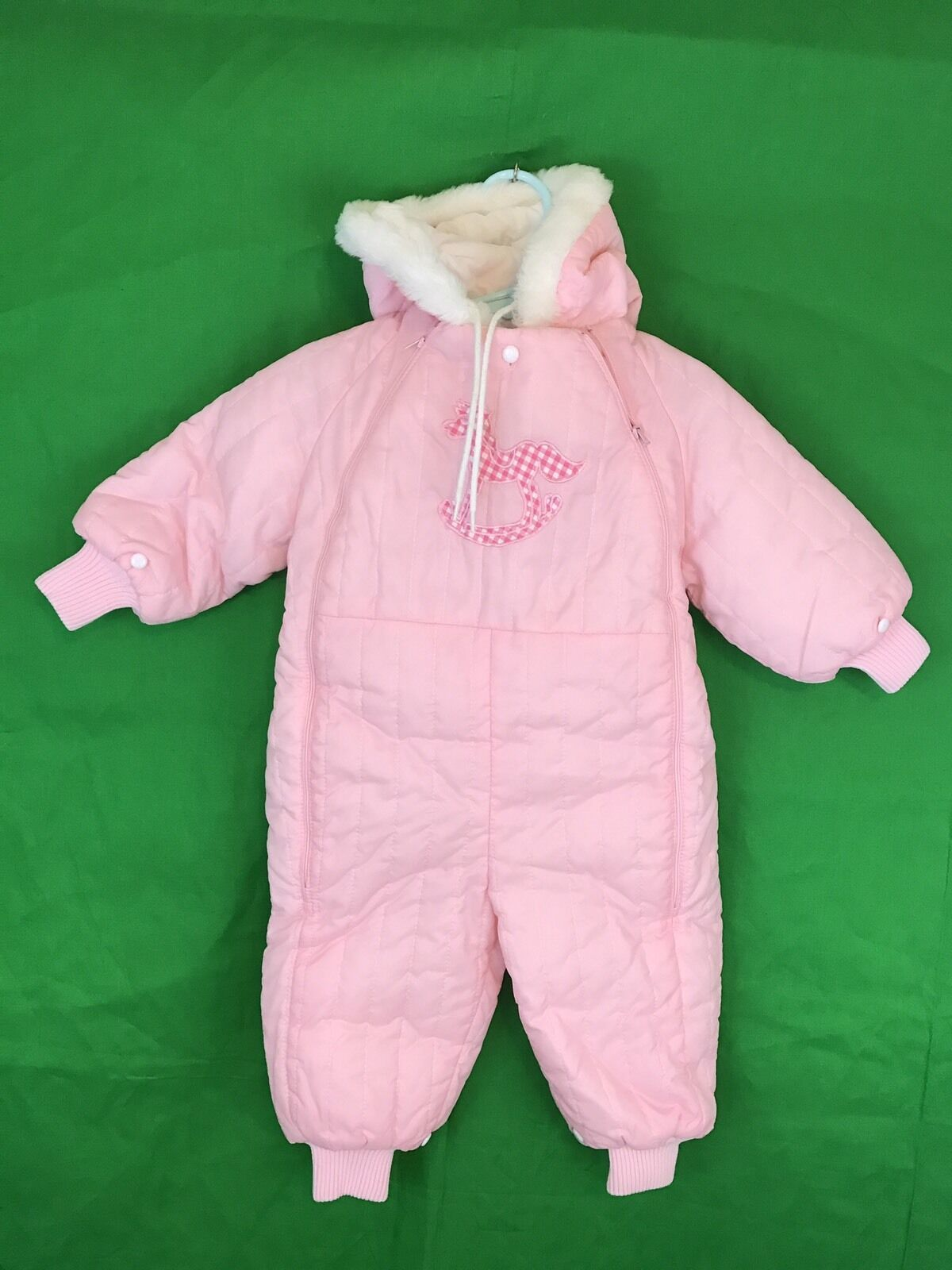 Quiltex Baby Girls Quilted Overalls Outfit Size 3 6 9 Months Pink White Bear