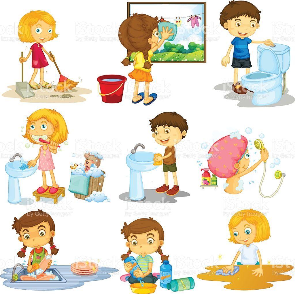 Children Doing Different Chores Illustration