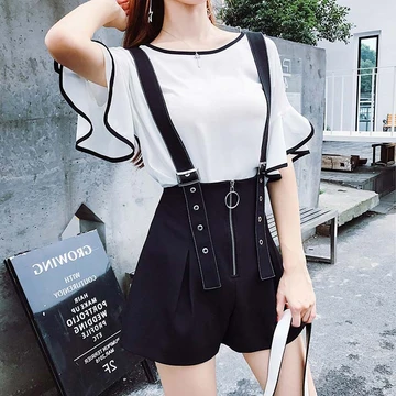 Flare Sleeve Top Zipper Strap Shorts Set AD11379