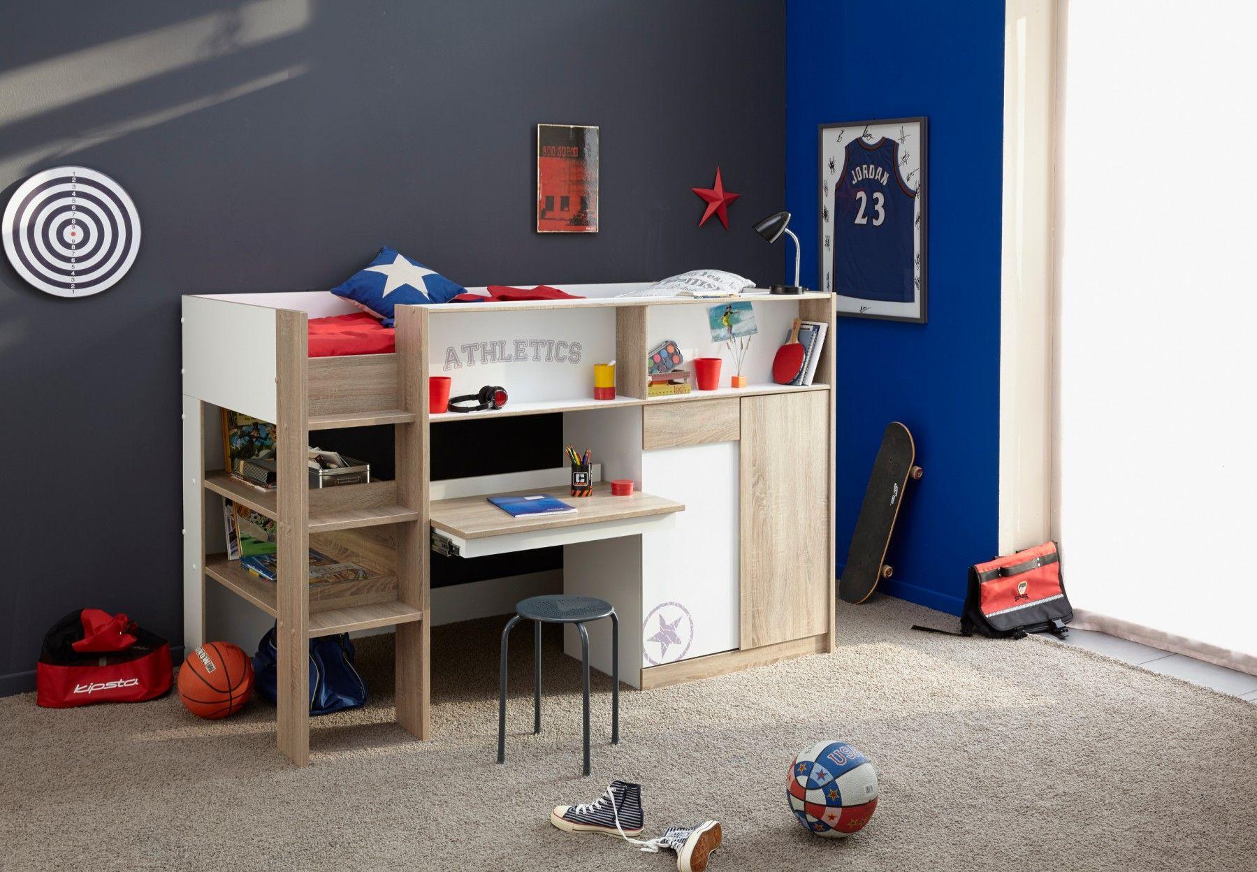 Lit combiné enfant 90x200 ilyan lit combiné avec bureau
