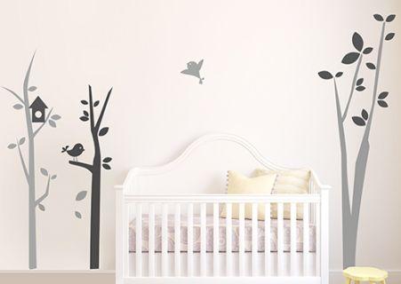 stickers arbre chambre b b avec oiseaux autocollants. Black Bedroom Furniture Sets. Home Design Ideas