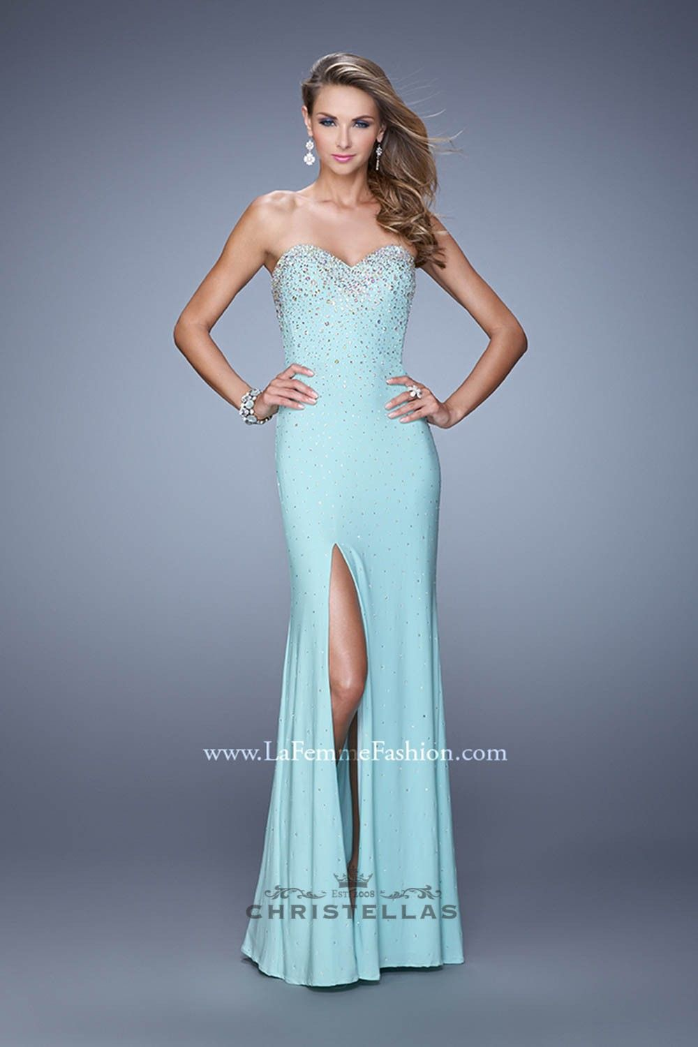 Sizzle with shimmer power in this elegant gown with a thigh slit ...