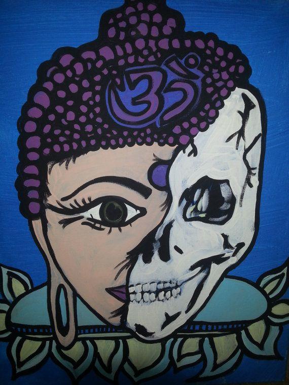 Buddha Lady Acrylic Skull Painting