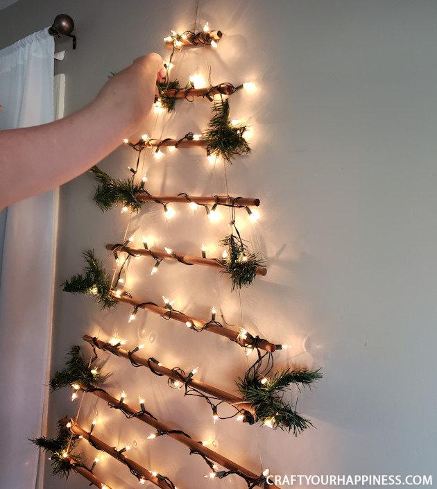 How To Make A Easy Diy Hanging Wall Christmas Tree Wall Christmas Tree Wall Mounted Christmas Tree Hanging Christmas Tree